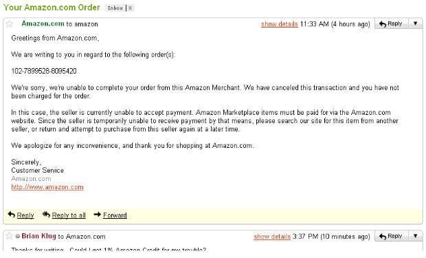 brian klug amazon cd rom order canceled