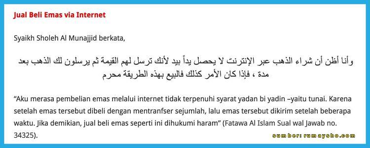 hukum jual beli emas online dalam islam